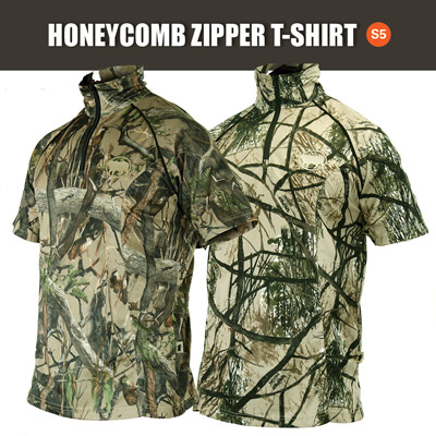 SNIPER 3D, MENS HONEYCOMB ZIPPER T-SHIRT