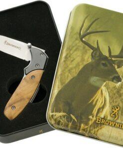 BROWNING WHITETAIL LINERLOCK POCKET KNIFE TIN SET BR969B 01