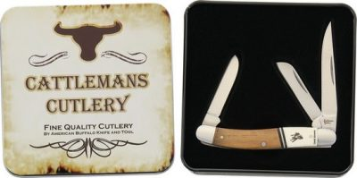 CATTLEMANS CUTLERY RAWHIDE SERIES STOCKMAN 3.5 CC0001RST 01