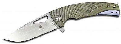 Kizer Cutlery Ki4484A2 Kyre Flipper Satin Blade Green Milled Titanium Handles Knife