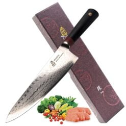 TUO Cutlery Ring D Series Japanese Damascus Chefs 9.5 inch kitchen knife Premium AUS 10 High Carbon Damascus Stainless Steel